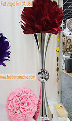 Tall Silver Vase 29 Inches Metal Reversible Double Vases Wedding Centerpiece