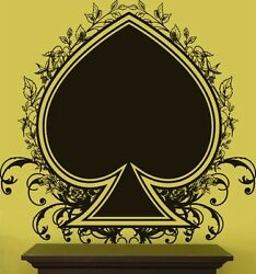 Vinyl Wall Decal Sticker Playing Cards Spade Floral Big