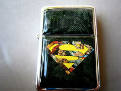 SUPERMAN SUPERHERO BLACK COMIC STAR BRAND LIGHTER STEEL JUSTICE LEAGUE JAL EL