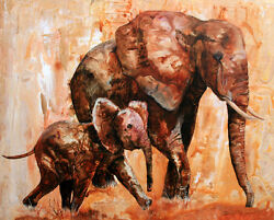 Mother's Gold Original 20x24 Elephant Art Painting On Canvas Sherry Shipley