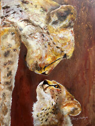 Mother Knows Best Original 18x24 Cheetah Art Painting On Canvas Sherry Shipley