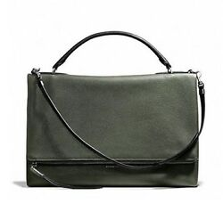 NWT COACH URBANE BAG IN PEBBLED LEATHER SILVER ALPINE MOSS F28133