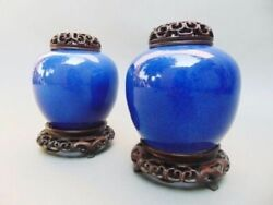 Pair Of Chinese Blue Glaze Covered Vases On Stands 19th Century