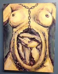 Conception Bound Feminism Fembot Original Oil Painting Nude 12x16 By D Warren
