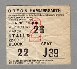 1975 Lou Reed Concert Ticket Stub Sally Can't Dance Tour Hammersmith London Uk