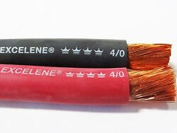 150and039 4/0 Excelene Welding Battery Cable 75and039 Black 75and039 Red Usa Made 600v Copper
