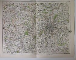 Middlesex Antique Map C1898 Bartholomew Royal Atlas Of England And Wales London