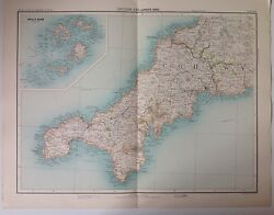 Lands End Soilly Isles Antique Map C1898 Bartholomew Royal Atlas England And Wales