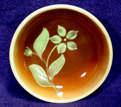 Vintage Watt Pottery Brown Silhouette Cereal 23 Bowl Star Flower Hand Painted