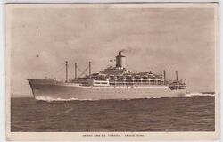 Stamps Trinidad And Tobago On 1956 Postcard Of Cruise Ship Orient Line S.s Orsova