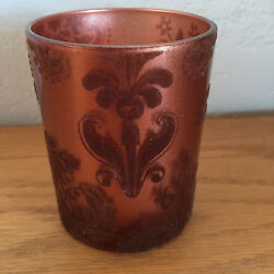 Copper Colored Glass Tumbler Fuzzy Design On Surface  3 1/2