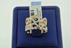 Fancy 14k Two Tone 1.50 Ct Diamond Ladies Wide Band Gold 11gm Size 7