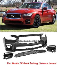 Red Sport 400 Eau Jdm Style Front Bumper Cover For 14-17 Infiniti Q50 No Pdc