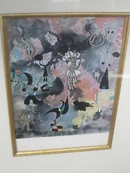 Joan Miro Signed Untitled 1950 Lithograph With Coa And Previous Auction Papers