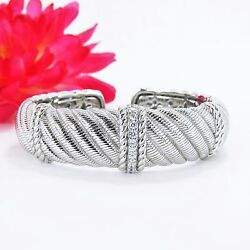 Authentic Judith Ripka Sterling Silver Textured Cz Diamonique Wide Hinged Cuff