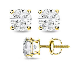 1.00ct F/si1 Round Cut Genuine Diamonds 14k Solid Yellow Gold Studs Earrings