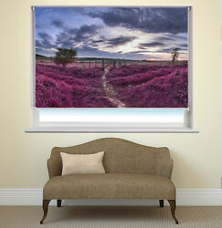 English Countryside Purple Landscape Flowers Picture Photo Window Roller Blind