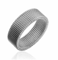 Stainless Steel Classic Flat Wedding Band Ring Bridal Menand039s Polished Mesh 8mm