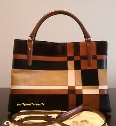 NWT COACH LARGE SOFT BOROUGH BAG IN HAIRCALF PATCHWORK LEATHER LI BROWN F32361