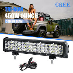 14inch 450w Cre Led Work Light Bar Tri-row Offroad Suv Driving For Jeep Ute