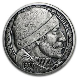 Limited 1 oz Hobo Nickel Antiqued Art Round (The Fisherman) Silver w COA