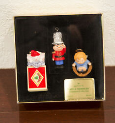 1979 LITTLE TRIMMERS SOLDIER-ANGEL & MOUSE HALLMARK CHRISTMAS ORNAMENT MIB