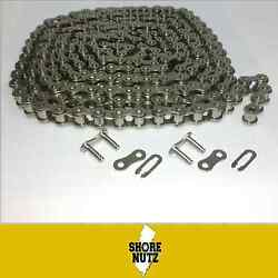 25np Nickel Plated Roller Chain 10ft W/ 2 Master Links Corrosion Resistant 25np