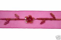 1 Beaded Organza Ribbon Trim With Red Glass Bugle Beads, Sequins, Cylinders