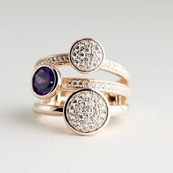 14k Rose Gold Over Sterling Silver Stacked Statement Cocktail Ring W. Cz