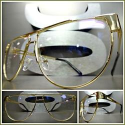 CLASSIC VINTAGE 70's RETRO Style Clear Lens EYE GLASSES Gold Metal Fashion Frame