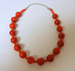Vintage Large Big Beads Genuine Red Coral Beaded Sterling Silver Necklace Rare