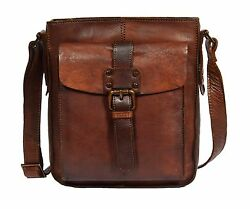 Mens Vintage Small Shoulder Bag Cross Body Travel Pouch Tan NEW