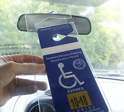 Handicap Parking Placard Holder - Rear View Mirror Disability ID Permit Hanger