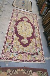 Primitive Antique American Hand Hooked Rug 3'2 X 6'1 On Burlap Floral Shabby