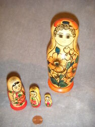 Russian Made 3 Pc Small And 1 Extra Large Matryoshka Nesting Wooden Dolls Russia