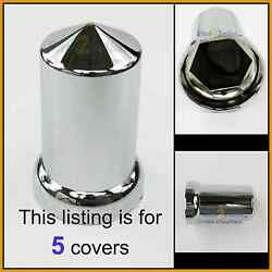 5 Lug Nut Covers 33mm Flange 3-1/8 Tall Round Pointed Push On Plastic 10269