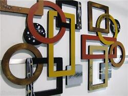 2pc Geometric Abstract Wood And Metal Wall Sculpture Hangings Contemporary