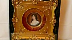 ANTIQUE ROYAL VIENNA PORCELAIN PLATE PORTRAIT IN ORNATE GILT FRAME SHADOW BOX