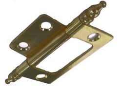 12 Non-mortise Hinges - Finial Tips - Antique Brass Finish -2 -one Dozen Hinges