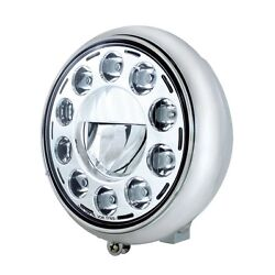 Motorcycle 7 Grooved Headlight With Chrome Housing - Chrome 11 Led Bulb