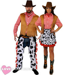 Couples Cowboy And Cowgirl Costume Mens Ladies Wild West Fancy Dress Outfit