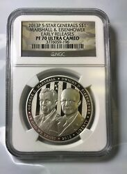 2013 5-star Generals Silver 1 Prooff 70 Ultra Cameo Ngc Marshall And Eisenhower