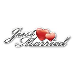 Just Married Contour Car Sign Magnet