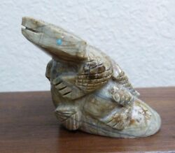 Hand Carved Marble Zuni Horned Lizard W/ Turquoise Inlay By Lorvin Kiyite -h10