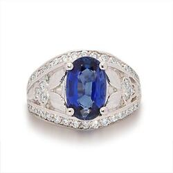 NATURAL 3.96 ct Oval Sapphire and Diamond 18K white Gold Ring