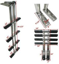 Pactrade Marine Boat Pontoon Boat Telescopic Dive Ladder Stainless Steel 4 Steps