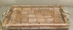 Large Serving Tray Rustic Wood And Hammered Silver Handles