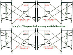 A Set Four Brand New Snap-on 5and039 X 5and039 X 7and039 Masonry Scaffolding Frame Sets Cbm