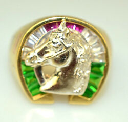 Vintage Mens 14k Yellow White And Rose Gold Horse Shoe Ring 9.8 Grams Size 11.25