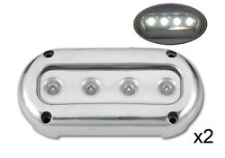 Pactrade Marine 2pcs Ultra Bright White Led S.s Underwater Light Surface Mount